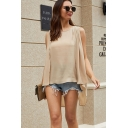 Stylish Street Ladies Solid Color Sleeveless Round Neck Patchwork Pleated Loose Tank Blouse Top in Khaki