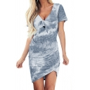 Leisure Womens Short Sleeve V-Neck Bow Tie Front Tie Dye Ruched Mini Tulip Tee Dress