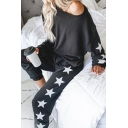 Leisure Fashion Womens Long Sleeve Drop Shoulder Pentagram Printed Loose Tee & Cuffed Relaxed Trousers