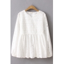 New Trendy Ladies Long Sleeve V-Neck Floral Embroidered Hollow Out Ruffled Loose Fit Blouse Top in White