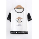 Fancy Cool Girls Short Sleeve Round Neck Letter PANDA Heart Panda Graphic Colorblock Relaxed Fit Tee Top in White