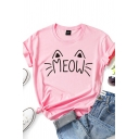 Fancy Girls Rolled Short Sleeve Crew Neck Letter MEOW Cat Print Fitted Graphic T-Shirt