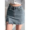 Cool Streetwear Girls High Rise Slit Side Mini A-Line Skirt in Blue