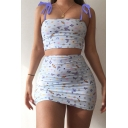 Pretty Girls Sleeveless Bow Tie Shoulder All Over Butterfly Print Fit Crop Cami & Short Tight Skirt Co-ords in White