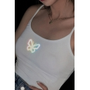 Ladies Simple Summer Sleeveless Butterfly Print Reflective Slim Fit Crop Cami Top in White