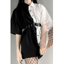 Popular Womens Black Short Sleeve Lapel Neck Button Down Colorblock Longline Relaxed Shirt with Belt