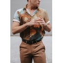 Guys Trendy Roll-Up Sleeve Lapel Neck Button Down Cartoon Allover Printed Relaxed Fit Shirt in Brown