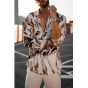 Chic Street Boys Long Sleeve Lapel Collar Button Down Allover Floral Printed Relaxed Shirt in White