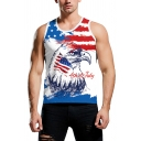 Sexy Casual Sleeveless Round Neck Eagle Flag Print Letter 4TH OF JULY Graphic Slim Fit Tank Top in White