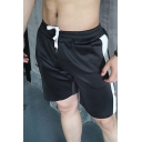 Gym Mens Drawstring Waist Stripe Printed Relaxed Fit Shorts