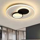Round Acrylic Flush Ceiling Light Modern Black and White LED Flush-Mount Lamp Fixture in White/Warm Light for Bedroom, 16