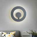 Metal Round Sconce Light Fixture Modernism LED Grey Wall Mount Lamp for Bedside, 7