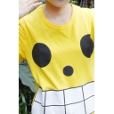 Lovely Boys Short Sleeve Crew Neck Polka Dot Checker Patterned Relaxed Fit T Shirt in Yellow