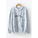 Leisure Cute Long Sleeve Letter BABY IM HOME Floral Graphic Stringy Selvedge Relaxed Pullover Sweatshirt for Girls