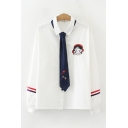 Fashionable Womens Long Sleeve Lapel Collar Tie Cartoon Embroidery Varsity Stripe Relaxed Shirt in White