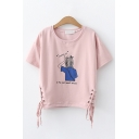 Fancy Girls Short Sleeve Round Neck Letter Print Cartoon Girl Graphic Lace Up Side Relaxed T Shirt