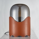 White/Brown Dome Table Lamp Minimalist 1 Head Smoked Glass Desk Light with Wave Base for Bedroom