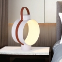 Metallic Circular Nightstand Lamps Minimalist White LED Table Light with Strap Design for Bedroom