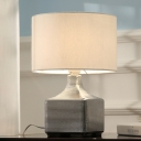 Simplistic Drum Night Table Lamp Fabric 1 Bulb Bedroom Desk Light with Creative Square Metal Base in White