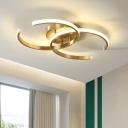 Symmetric Arcs Ceiling Mounted Light Minimalist Acrylic Gold LED Flush Mount Lamp for Bedroom