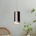 Cylindrical LED Hanging Light Minimalist Acrylic 1 Head Black Suspension Pendant for Kitchen