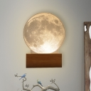 Wood Circular Wall Sconce Light Contemporary Acrylic Internal Carving Processed LED Wall Mount Lamp for Bedroom