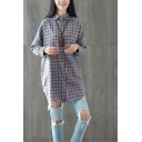 Leisure Ladies Long Sleeve Lapel Collar Button Down Curved Hem Checker Pattern Linen and Cotton Loose Longline Shirt