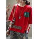 Vintage Womens Short Sleeve Round Neck Cartoon Animal PEJOICE Punctuations Embroidery Patchwork Color Block Ripped Slit Relaxed Tee