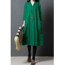 Classic Retro Style Womens Roll Up Sleeve Surplice Neck Button Up Linen Maxi Plain Oversize Green Dress