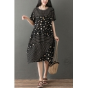 Fashionable Girls Short Sleeve Round Neck Polka Dot Stripe Patterned Cotton and Linen Maxi Oversize Dress