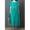 Green Trendy Short Sleeve Round Neck All Over Feather Print Linen and Cotton Maxi Swing Dress for Ladies