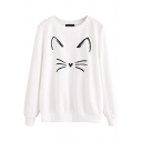 Fashionable Girls Long Sleeve Round Neck Cat Patterned Relaxed Fit Pullover Sweatshirt