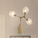 Minimal 3-Head Metal Wall Lighting Fixture Gold Finish Ball Sconce Light with Frosted Glass Shade