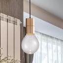 Wood Bare Bulb Hanging Lighting Modern 1 Head Clear Glass LED Mini Pendant Lamp in Warm/White Light
