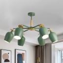 Iron Bud Semi Flushmount Lighting Modern 6/8-Light Radial Ceiling Flush Mount in Green for Living Room