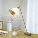 Wide Flared Metal Table Lighting Modernist LED White Desk Lamp with Tube and Ball Marble Base