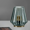 1-Bulb Living Room Night Light Modern Brass Table Lamp with Jar Clear Prismatic Glass Shade