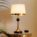 Fabric Conical Nightstand Light Postmodern 1 Bulb Gold Night Table Lighting with Black Crystal Ball