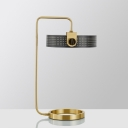 Round Night Table Lighting Luxurious Metal LED Gold Nightstand Lamp with Hollow Design