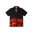 Boys Cool Streetwear Short Sleeve Lapel Neck Button Down Letter TIDEBEAR W Flame Graphic Fitted Shirt in Black