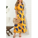 Womens Pretty Short Sleeve Round Neck All Over Floral Print Bow Tie Waist Maxi A-Line Dress