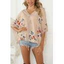 Summer Pretty Ladies Batwing Sleeves V-Neck Flower Pattern Lace Trim Irregular Hem Oversize Blouse Top in Apricot