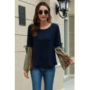 Womens Fashion Bell Sleeve Round Neck Stripe Pattern Panel Bow Tie Relaxed Fit T-Shirt in Navy