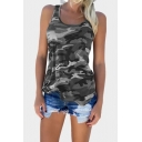 Cool Womens Sleeveless Round Neck Camo Print Relaxed Fit Tank Top