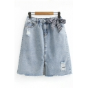 Stylish Womens High Waist Ripped Bow Tie Patched Slit Front Raw Edge Short A-Line Denim Skirt in Blue