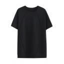 Casual Cool Girls Short Sleeve Crew Neck Solid Color Patchwork Relaxed T-Shirt