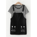 Popular Womens Short Sleeve Round Neck Stripe Printed Relaxed T-Shirt & Smile Face Graphic Relaxed Suspender Shorts