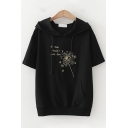 Lovely Girls Short Sleeve Hooded Drawstring Floral Letter Printed Pouch Pocket Loose Fit Tee Top