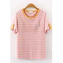 Preppy Girls Short Sleeve Round Neck Stripe Floral Printed Button Detail Contrasted Relaxed Fit T Shirt