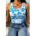 Womens Unique Sleeveless Scoop Neck Tie Dye Print Knitted Slim Fit Crop Tank Top